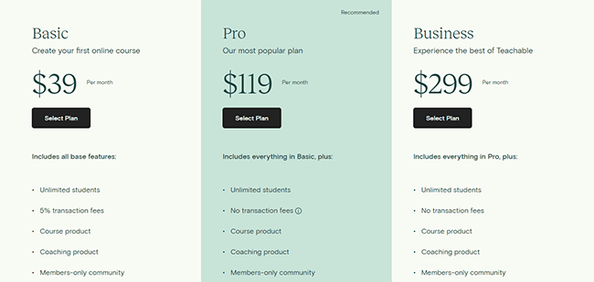 Teachable pricing options