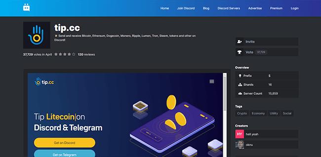 Tip.cc Homepage