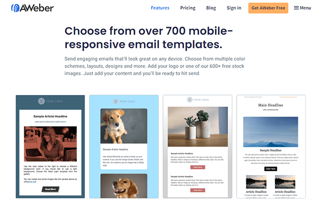 AWeber library of templates