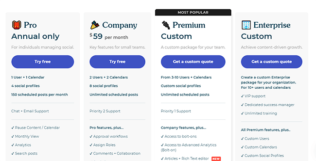ContentCal pricing information