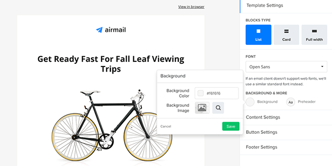 Edit template design in MailerLite