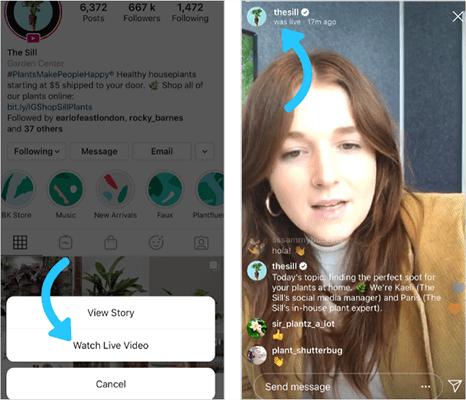 Instagram livestream on mobiles