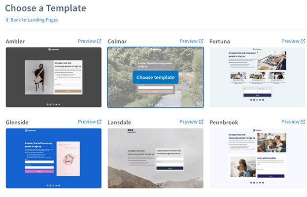 Landing pages - choose a template