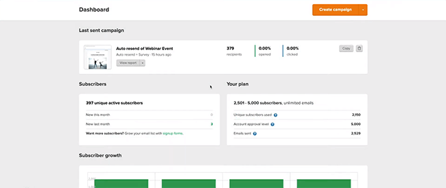 MailerLite overview dashboard of campaign
