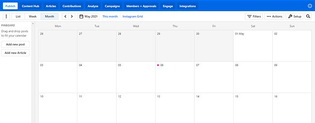 Pinboard content calendar
