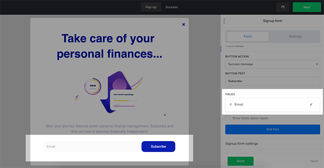 Popup subscribe forms with MailerLite
