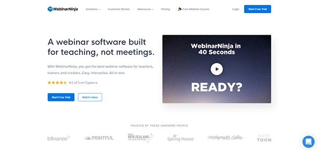 01 WebinarNinja Homepage