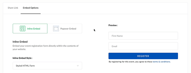 04 Embed webinar registration page