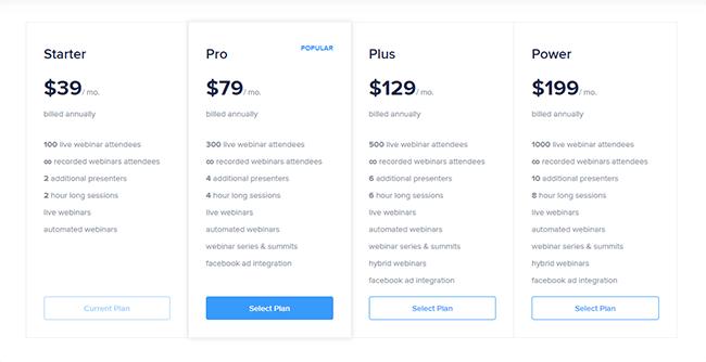 10 WebinarNinja pricing