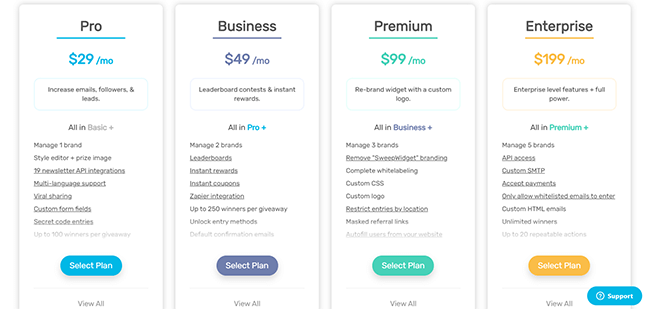 13 SweepWidget pricing