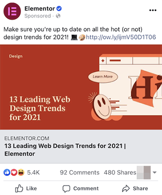 Example of a sponsored ad on Facebook