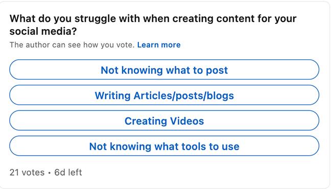 Simple poll on LinkedIn example