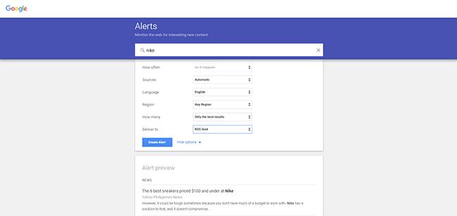 Google Alerts Homepage