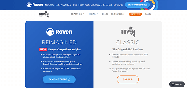 Raven Tools Homepage